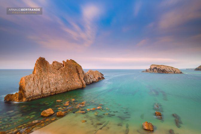 Playa de la Arnia au coucher du soleil