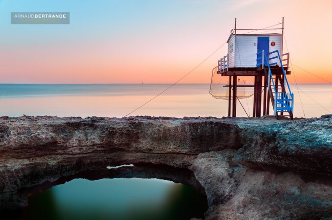 Carrelet à St-Palais sur mer au coucher du soleil