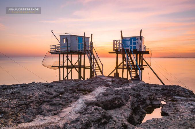 Carrelets à St-Palais sur mer au coucher du soleil